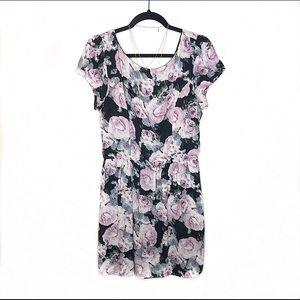 """Purple Floral Midi """"Three Pink Hearts"""" Dress"""